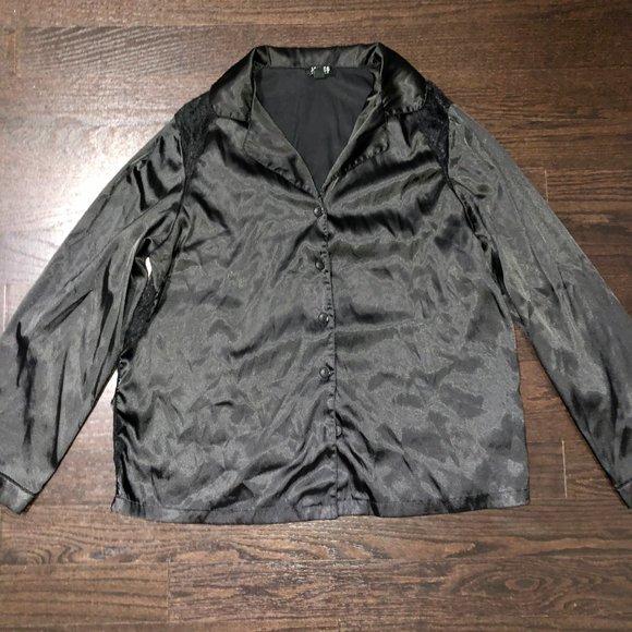 Goodnight Macaroon Other - Lace-Paneled Silk-Blend Satin Pajama Shirt